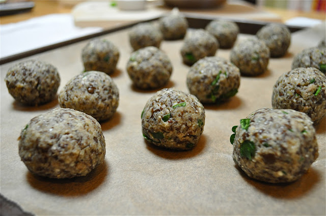 "lentil ""meatballs"" with lemon pesto - Marin Mama Cooks"