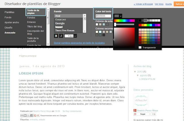 Cómo configurar el texto de página en blogger