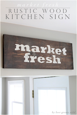 Market Fresh Rustic Wood Kitchen Sign