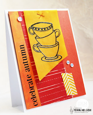 SRM Stickers Blog - Coffee Lover's Blog Hop - Celebrate Autumn by Tenia - #card #fall #autumn #coffee #coffeeloversbloghop #janesdoodles #stickers #sentiments #stickerstitches