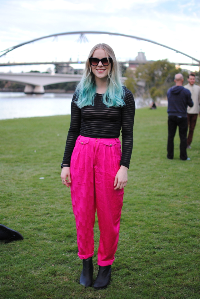 fashion blog ootd hot pink vintage silk pants