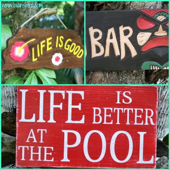 placas divertidas espalhadas para decoração de ambiente externo, piscina. quintal
