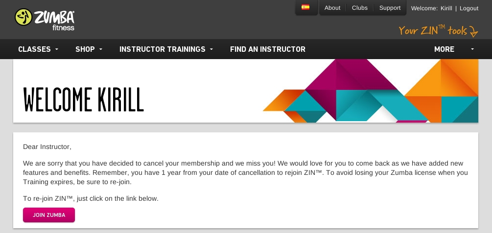 how to cancel zumba zin membership