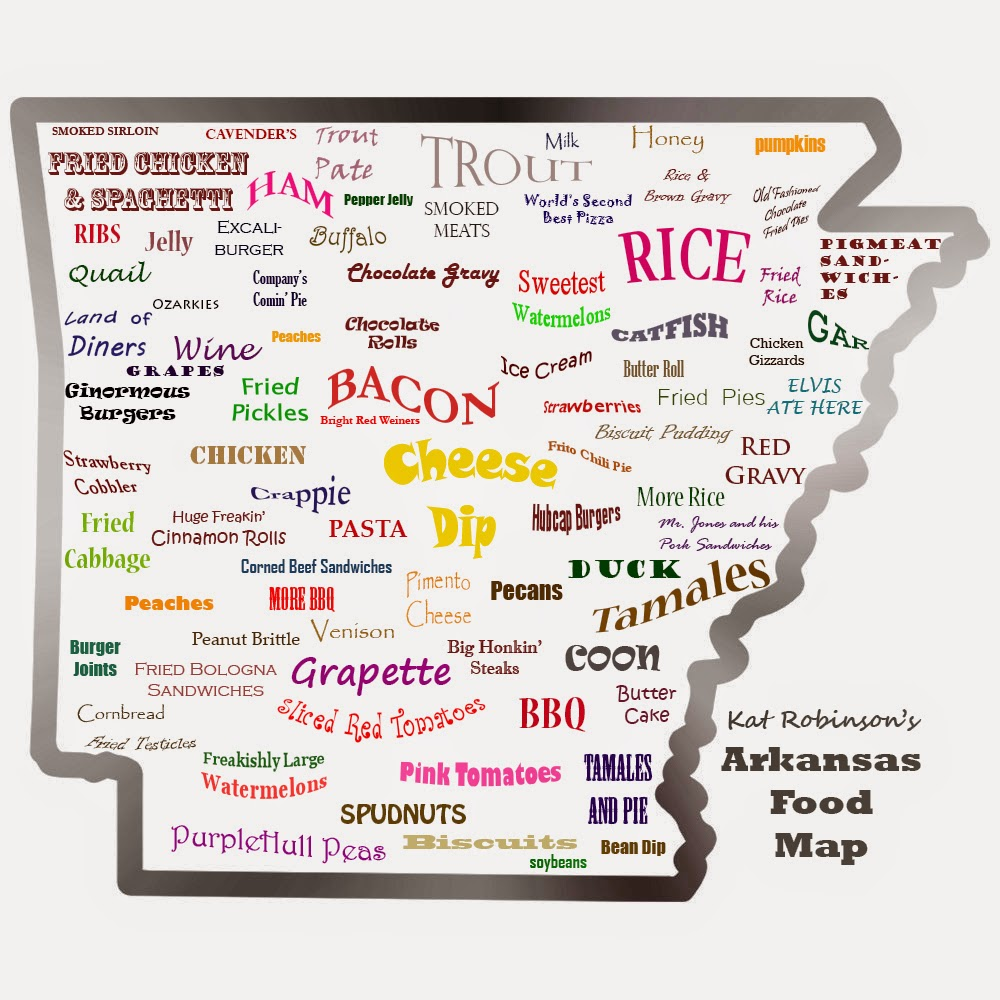 The arkansas food map tie dye travels with kat robinson for Arkansas cuisine