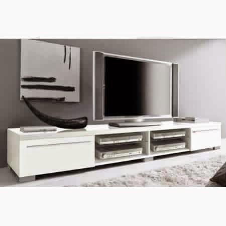Meuble tv blanc laqu meuble d coration maison for Meuble tv bas blanc laque