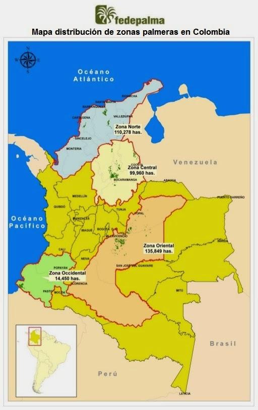 Mapa de zonas palmeras en Colombia