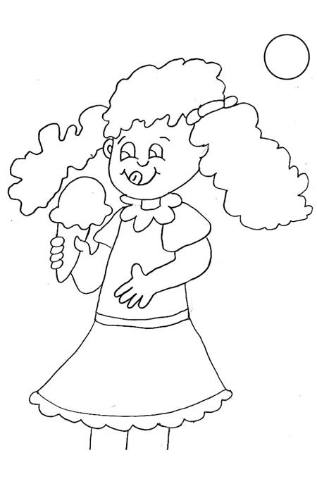 صورة بنت صغيرة تأكل البوظة للتلوين