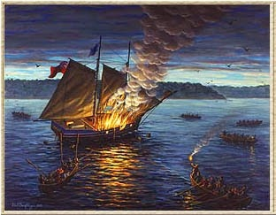 The Burning Of The Gaspee - photo source:  Gaspee(dot)org