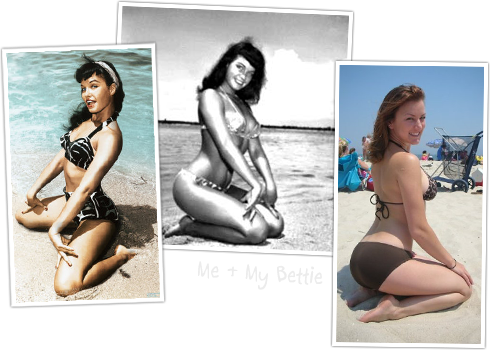 Bettie Page and Amy on the Beach