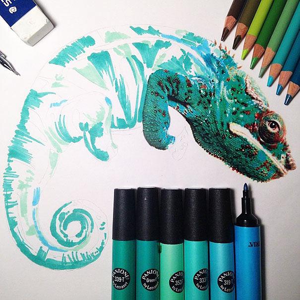 Dibujos animales realistas rodeada por las herramientas usadas para crearlos