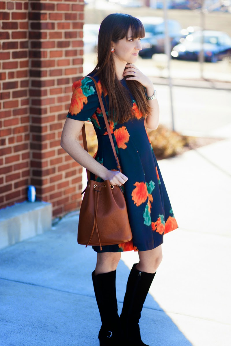 winter floral, floral dress, navy floral dress, anthroplogie floral dress, fitted floral dress, suede boots, black suede boots, wedge black boots, cheap bucket bag, cheap camel bucket bag, kendra scott ring, silver rock ring, winter style, style inspiration, dress style inspiration, nashville street style, nashville fashion blogger, fashion blogger