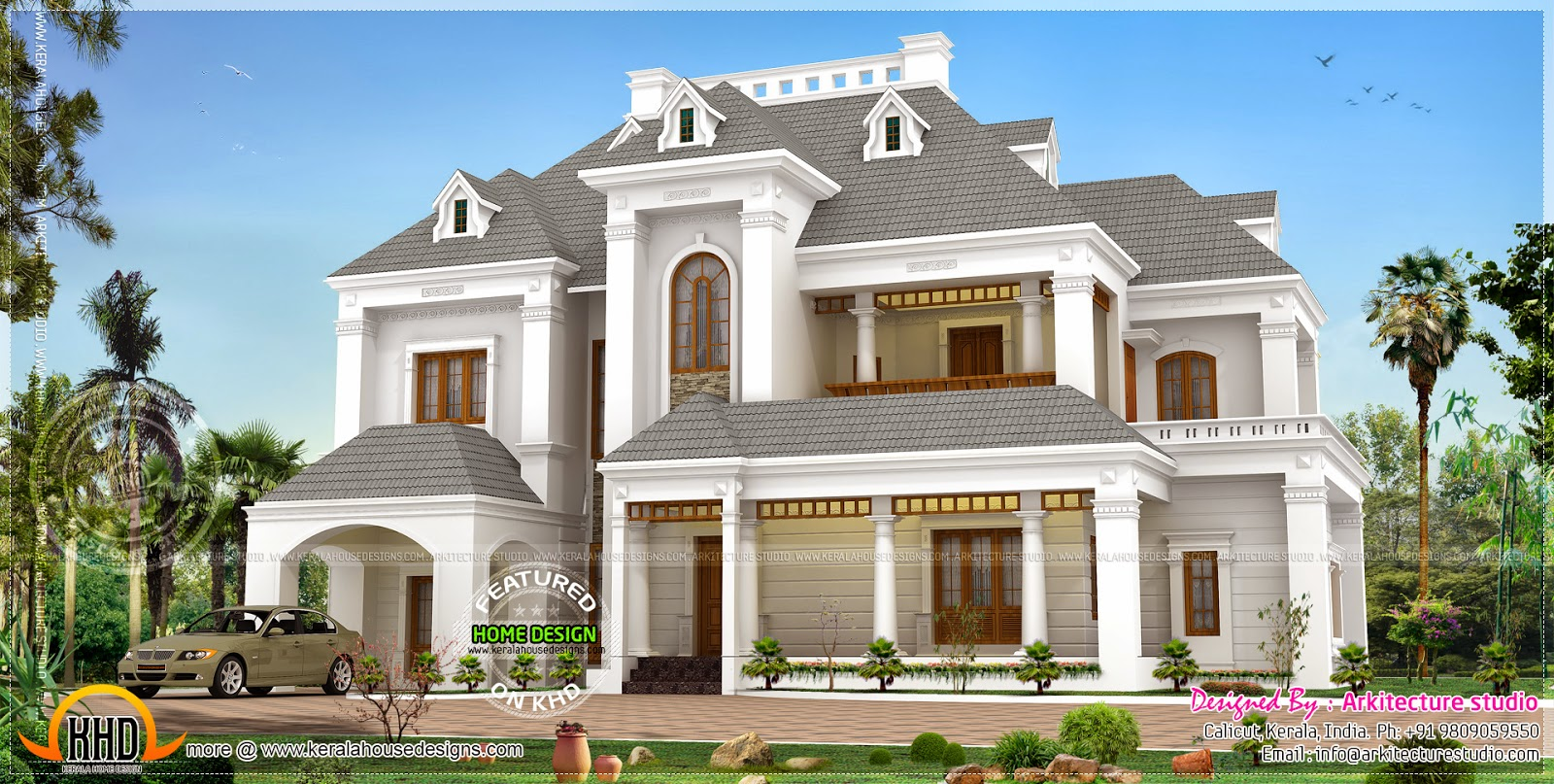 Beautiful victorian model luxury home home kerala plans for Colonial style home design in kerala