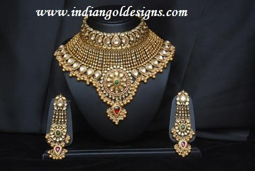 Gold and Diamond jewellery designs 22k gold Kundan bridal designer