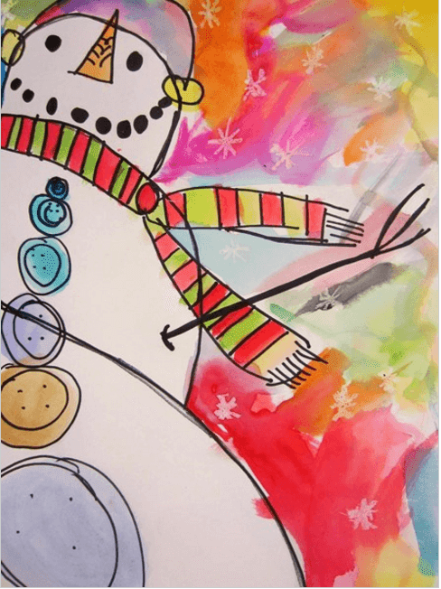 water colour painting of a snowman