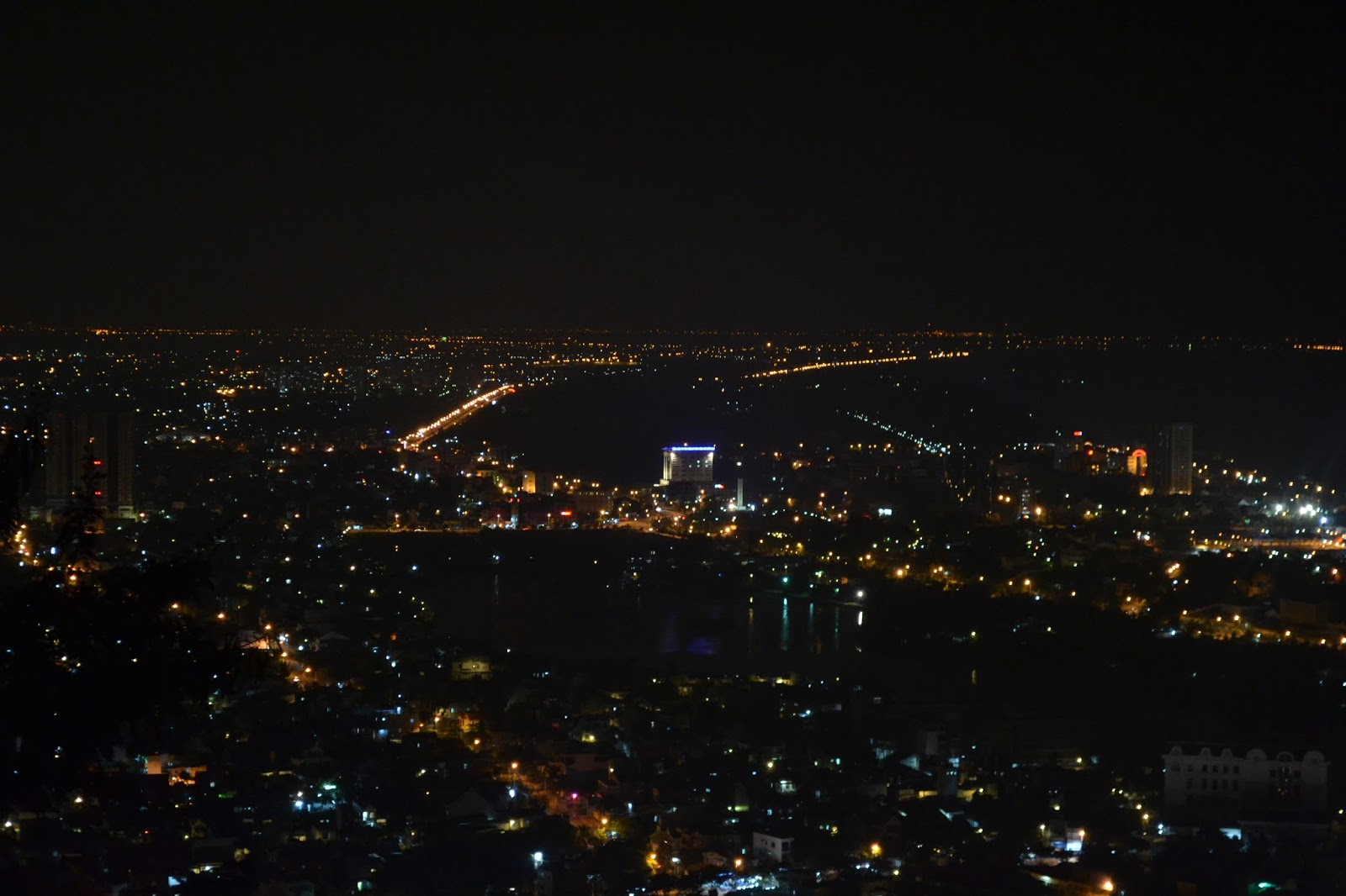 Beautiful night view of vung tau city from lighthouse