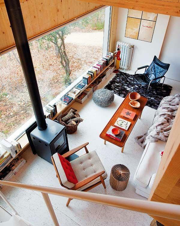 Salon loft estilo midcentury años 50