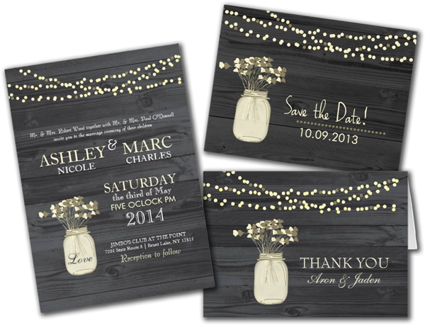 Country Mason Jar Wedding Wood Grain Light Strands Wedding Invitation