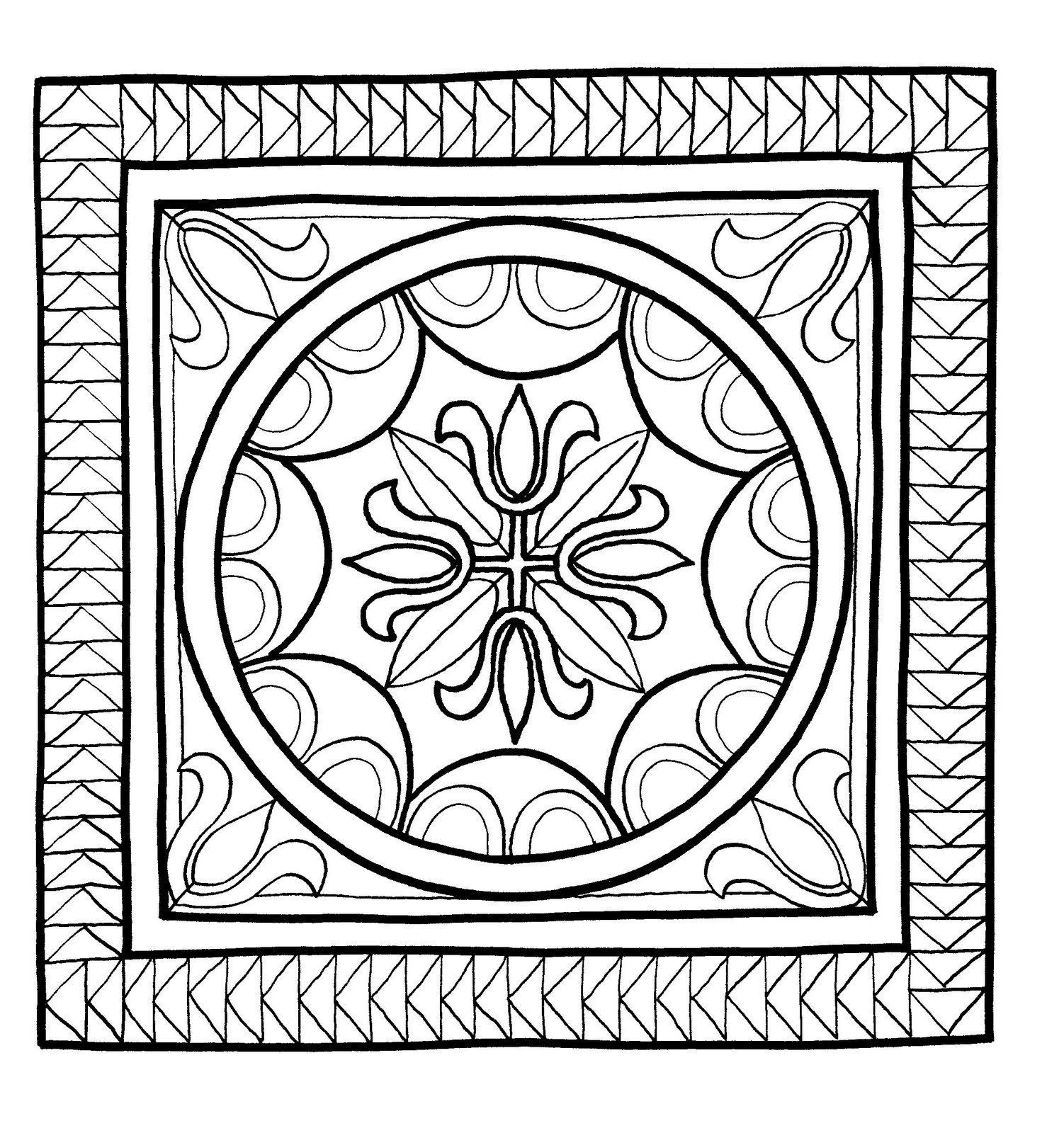 Mandalas Para Pintar: Mosaico de Pompeya (Italia)