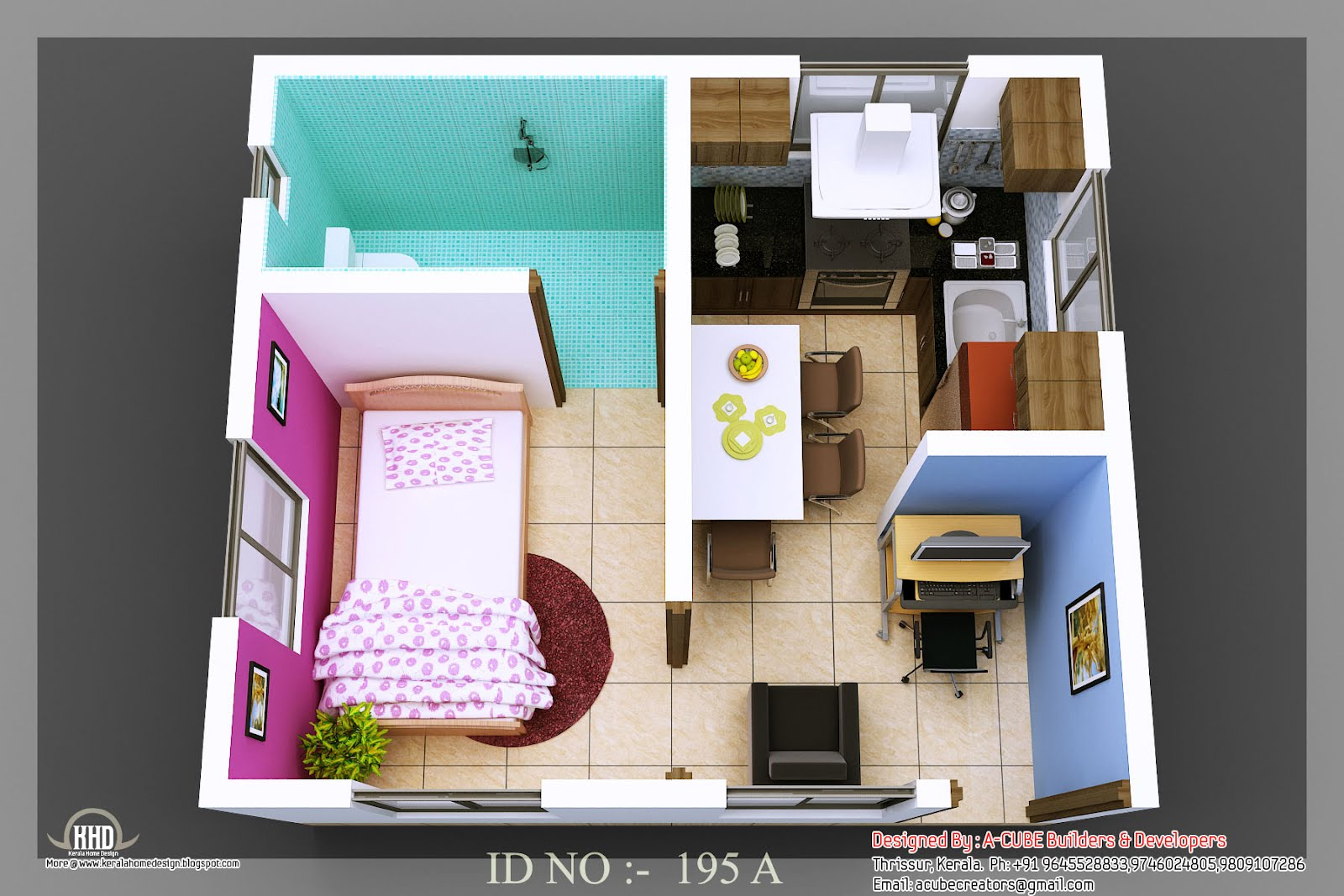 3d isometric views of small house plans kerala home for Home designs 3d images