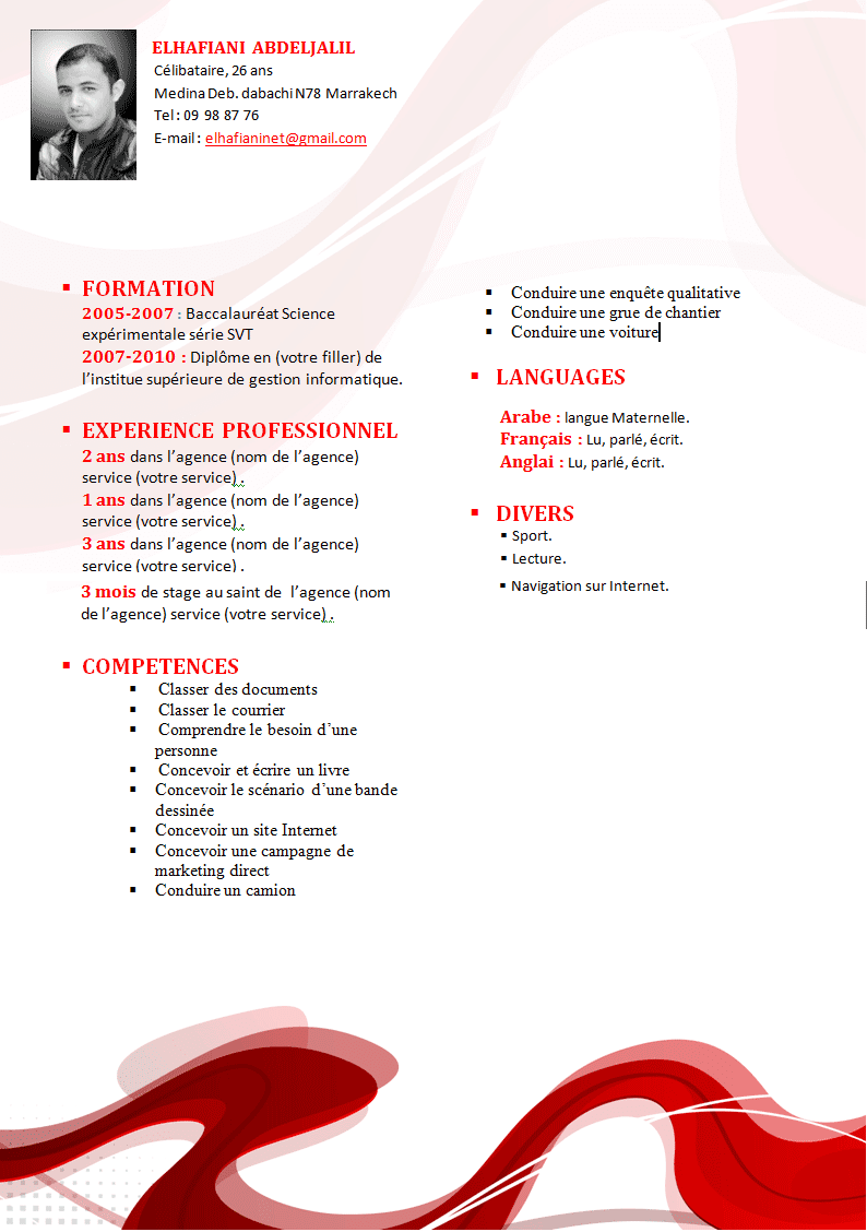 comment faire un cv  model de cv rouge format word original