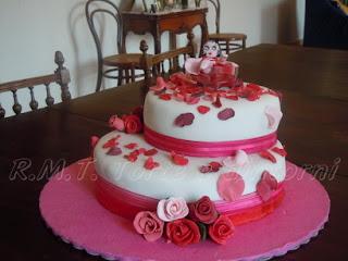 victoria sponge cake al cioccolato, farcitura crema ganache e mascarpone, copertura e decori in pasta di zucchero