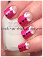 Peter Pan nails, hot pink polish, Julep Sandra, half moons, 31 day nail challenge, day 18, Zoya Joan, Zoya Snow White, Mineral Fusion nail polish Obsidian, dotting nail tool,
