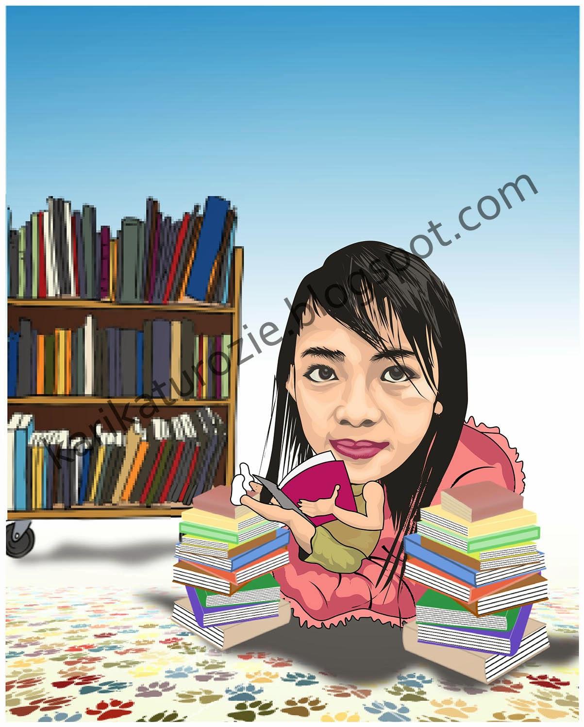 Karikatur Lucu Gadis Kecil Membaca