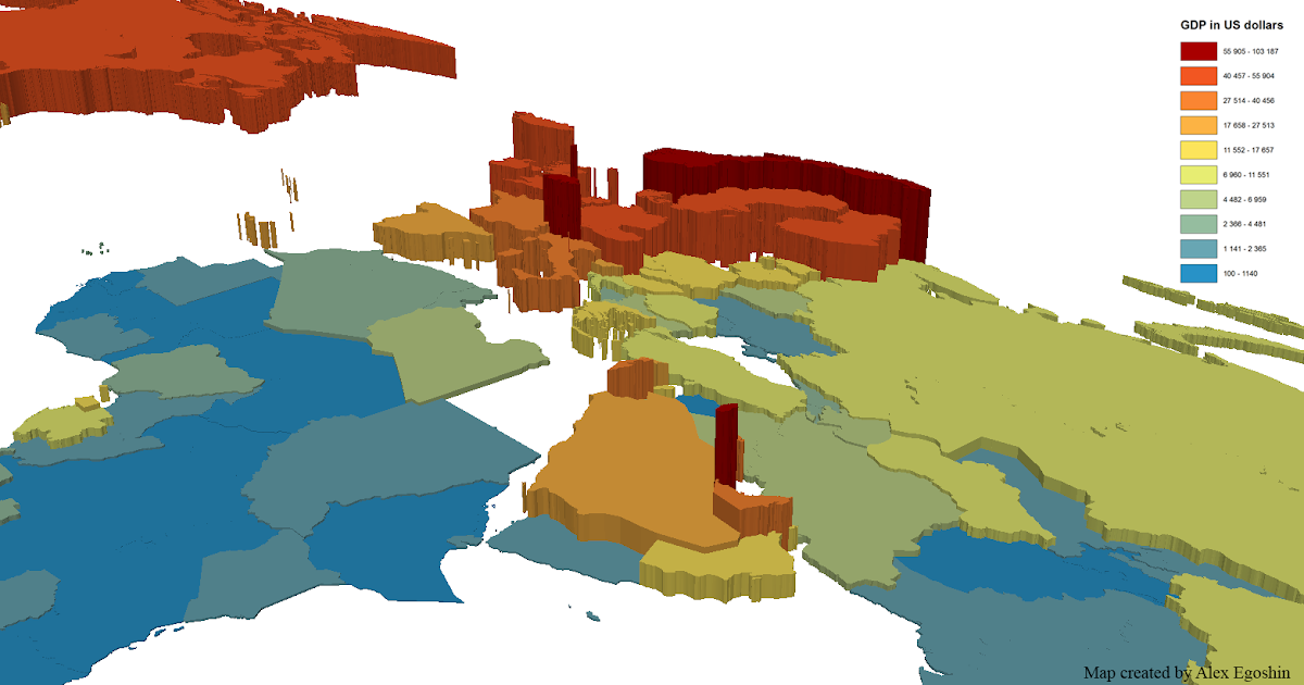 Gross Domestic Product At Nominal Values In 3d Visualization Vivid Maps