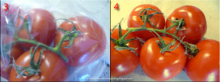 stem molding on tomatoes stored in green reusable produce bags