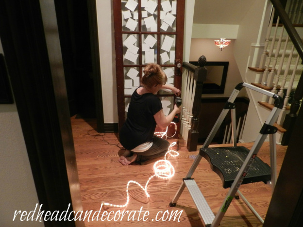Illuminated Photo Door by Red Head Can Decorate, featured at I Love That Junk