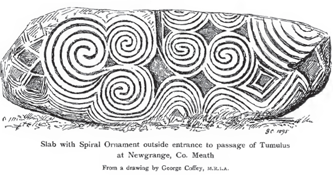 A stone slab with spiral art in the Celtic style