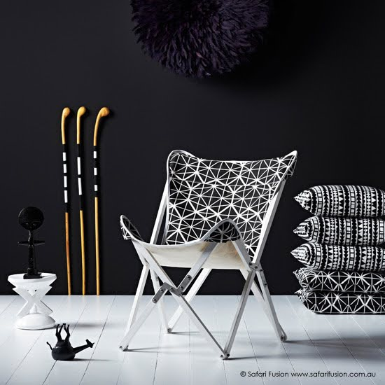 Safari Fusion blog | Woven & Stitched collection | Tripolina Chair (facet), Tribal & Facet Cushions + Mogwane Walking Sticks by Safari Fusion www.safarifusion.com.au