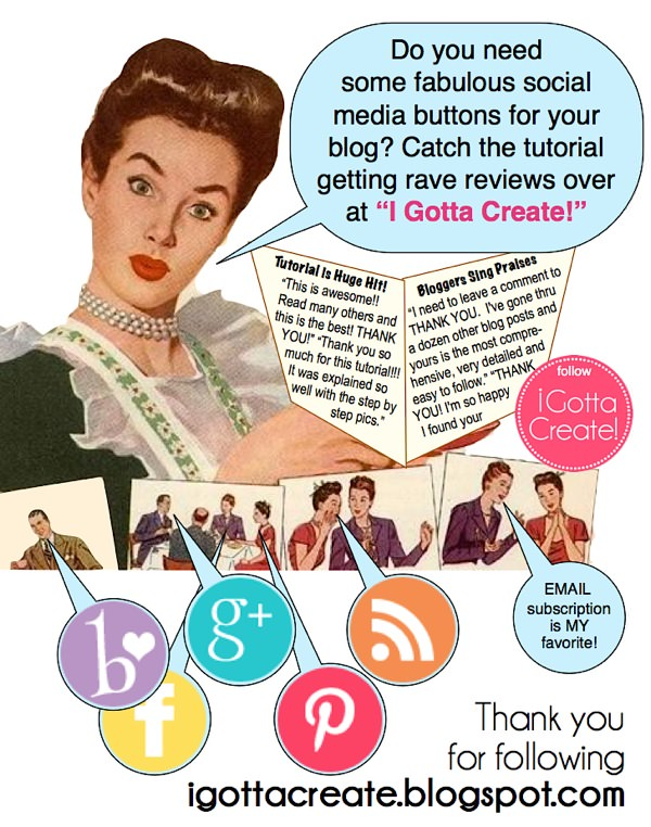 Best ever tutorial for installing social media buttons! | tutorial at I Gotta Create!