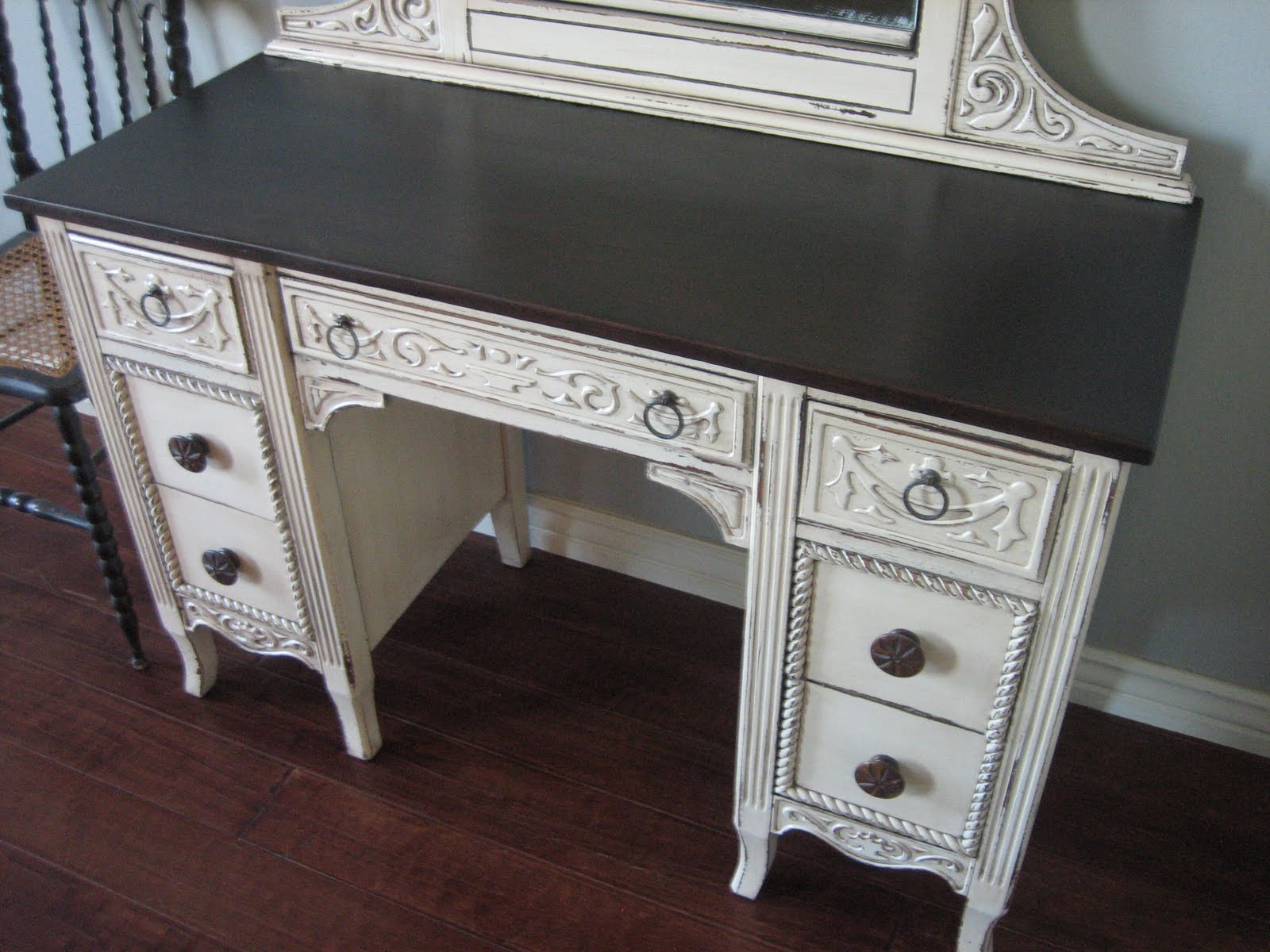 Carved Ivory White Vanity