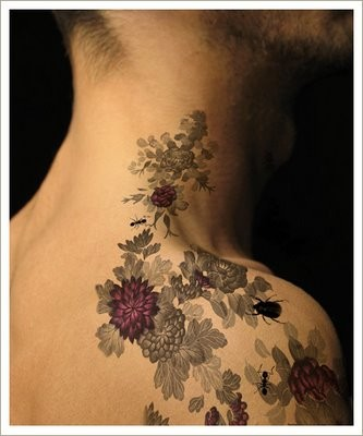1887tattoos flower tattoos on neck