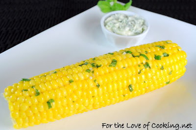 Corn on the Cob with Basil Garlic Butter