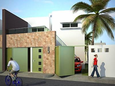 fachada contemporanea de casa con doble cochera separada elegante residencial