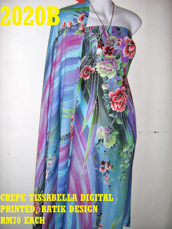 CTD 2020B: BATIK CREPE TISSABELLA DIGITAL PRINTED, EXCLUSIVE DESIGN, 4 METER