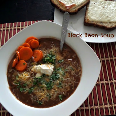 Black Bean Soup:  A creamy, flavorful, and meatless soup made with black beans and spices.  Filling enough for an entree.