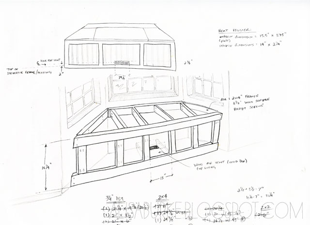 Wood building a window seat over a vent pdf plans for Bay window construction details