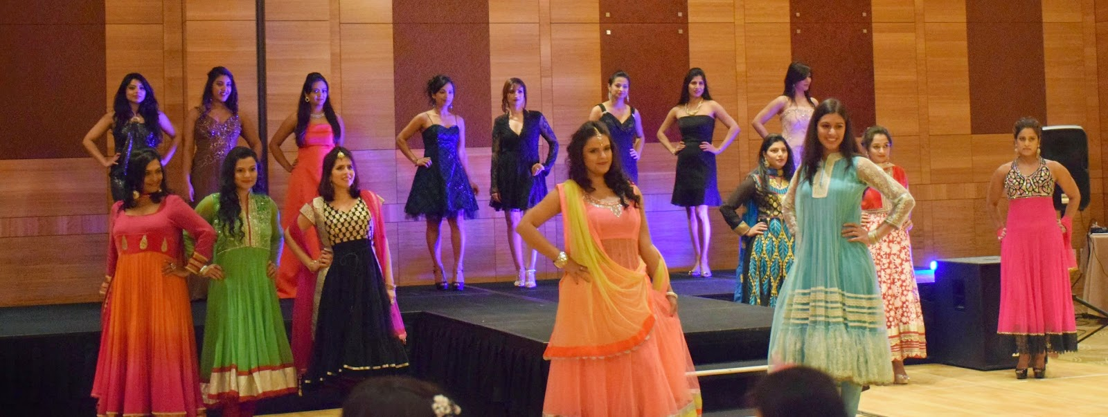 Seattle fashion shows, Seattle desi events, Hyatt Fashion show, fashion trends for women of all ages, Ananya in a gown, Seattle Fashion Blogger, Indian ladies wearing different attire, Indo-Western Fusion