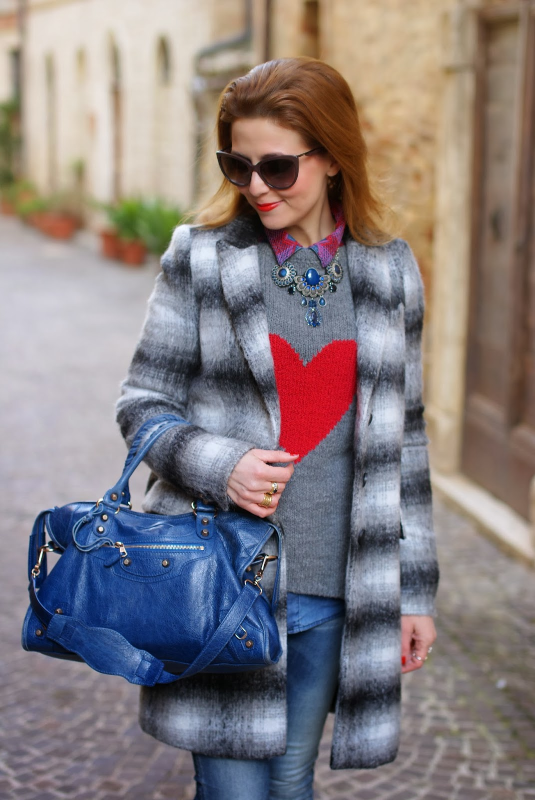 Zara checked coat, heart sweater, Balenciaga City cobalt blue, Fashion and Cookies, fashion blogger