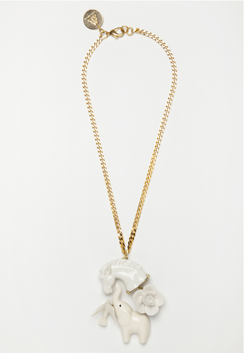 Necklace with porcelain horse and elephant by Andres Gallardo | www.stylemachineblog.com