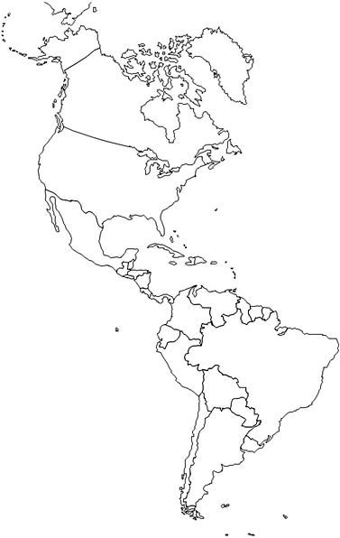Clever image inside printable map of north and south america