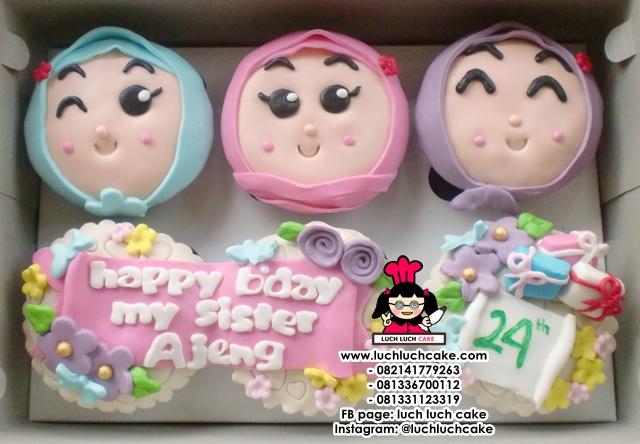 Cupcake 2D Cute Tema Muslimah