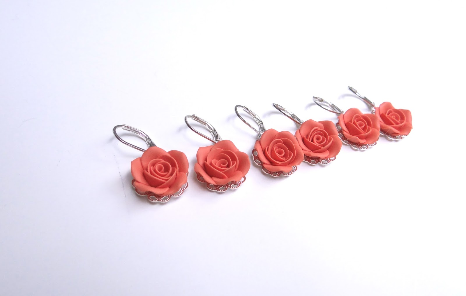 Coral and Navy Blue Rose Jewelry , Coral and Navy Blue Wedding Theme