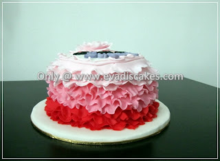 Picture of Penang Cakes - Evadis Cupcakes - Rainbow Cake With 3 Tones Ruffles Design