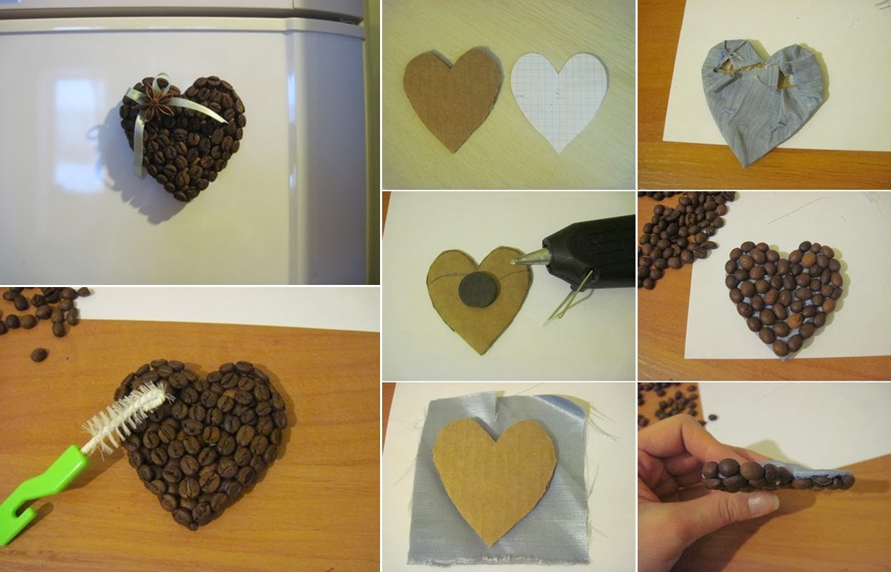 Diy coffee bean heart fridge magnets diy craft projects for Coffee crafts