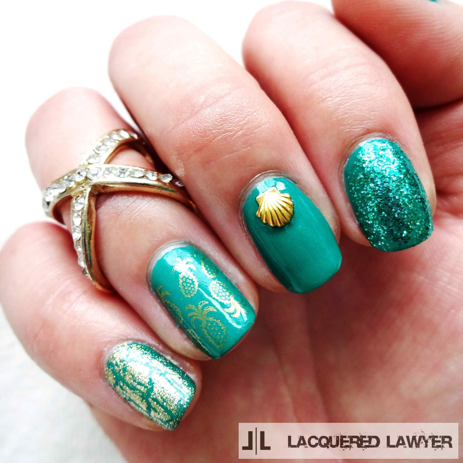 Tropically Teal Nail Art