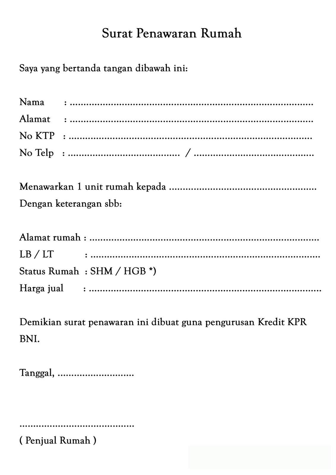 download surat penawaran rumah